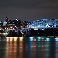 "Newport Southbank Bridge ""Purple People Bridge"" at night in Cincinnati Ohio"
