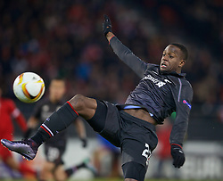 LIVERPOOL, ENGLAND - Thursday, December 10, 2015: Liverpool's Divock Origi misses a chance against FC Sion during the UEFA Europa League Group Stage Group B match at Stade de Tourbillon. (Pic by David Rawcliffe/Propaganda)