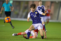 EDINBURGH, SCOTLAND - Tuesday, November 1, 2016: Scotland's Kane O'Connor in action against Wales during the Under-16 2016 Victory Shield match at ORIAM. (Pic by David Rawcliffe/Propaganda)