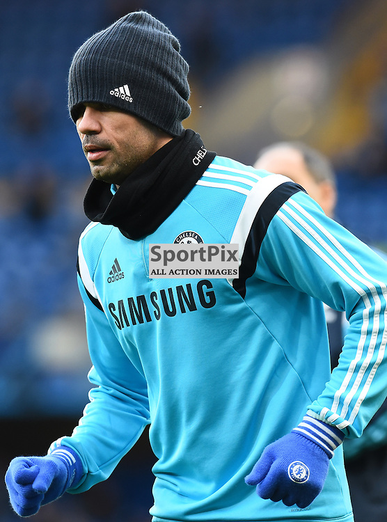 Chelsea FW Diego Costa (19) during the warming up before Chelsea v Newcastle United, Barclays Premier League, 10 January 2015 at Stamford Bridge Stadium, London, England (c) Salvio Calabrese | SportPixPix.org.uk
