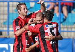 Matej Mlakar  (23) of Primorje, Davor Skerjanc (15) of Primorje, Vladimir Ostojic (4) of Primorje and Nezbedin Selimi (11) of Primorje celebrating a goal  at 6th Round of PrvaLiga Telekom Slovenije between NK Primorje Ajdovscina vs NK Rudar Velenje, on August 24, 2008, in Town stadium in Ajdovscina. Primorje won the match 3:1. (Photo by Vid Ponikvar / Sportal Images)