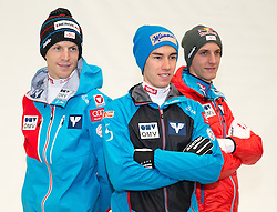 10.10.2015, Olympia Eisstadion, Innsbruck, AUT, OeSV Einkleidung Winterkollektion, im Bild v.l. Michael Hayböck, Stefan Kraft, Gregor Schlierenzauer // during the Outfitting of the Ski Austria Winter Collection at the Olympia Eisstadion in Innsbruck, Austria on 2015/10/10. EXPA Pictures © 2015, PhotoCredit: EXPA/ Johann Groder