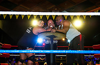 "Jimmy Jact Cash and ""Mr USA"" Tony Atlas set to arm wrestle during the Whiskey Barrel's Pro Wrestling Injustice for Brawl event Saturday night to benefit PJ Kearney and the Boston Children's Hospital.  (Karen Bobotas/for the Laconia Daily Sun)"