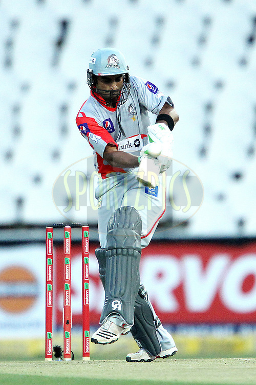 Imran Nazir hits over the boundary for a six during 2nd Qualifying match of the Karbonn Smart CLT20 South Africa between Auckland Aces and Sialkot Stallions held at The Wanderers Stadium in Johannesburg, South Africa on the 9th October 2012..Photo by Ron Gaunt/SPORTZPICS/CLT20