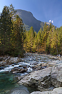 Evans Peak and Gold Creek at Golden Ears Park near Maple Ridge, British Columbia, Canada. Photographed from along the North Beach Trail to the mouth of Gold Creek at Alouette Lake.