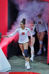 BLOOMINGTON, IL - October 12: Lexi Varga during a college Women's volleyball match between the ISU Redbirds and the Valparaiso Crusaders on October 12 2018 at Illinois State University in Bloomington, IL. (Photo by Alan Look)