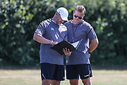 Forest Green Rovers assistant manager, Scott Lindsey and Forest Green Rovers manager, Mark Cooper during the first day back at training for Forest Green Rovers at the New Lawn, Forest Green, United Kingdom on 2 July 2018. Picture by Shane Healey.