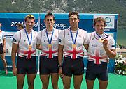 Aiguebelette, FRANCE.   GBR M4X Gold Medallist left. Graeme THOMAS, Sam Townsend, Charles COUSINS  and Peter LAMBERT.  2014 FISA World Cup II, 13:00:33  Sunday  22/06/2014. [Mandatory Credit; Peter Spurrier/Intersport-images]