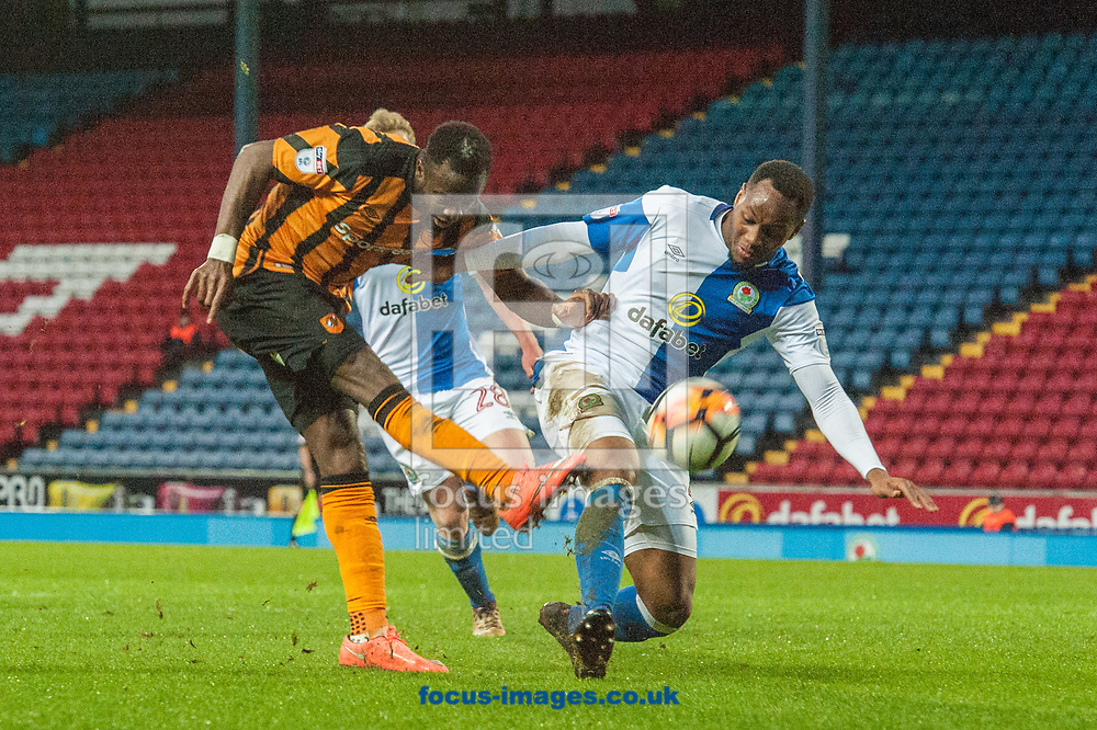 Adama Diomande of Hull City sees his shot on goal blocked by Ryan Nyambe of Blackburn Rovers during the FA Cup match at Ewood Park, Blackburn<br /> Picture by Matt Wilkinson/Focus Images Ltd 07814 960751<br /> 06/01/2018
