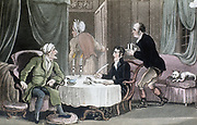 Dr Syntax making his will. Servants leave the room so that he can speak with his lawyer in privacy. Illustration by Thomas Rowlandson for William Combe 'Tours of Dr Syntax',  London, c1816. Aquatint