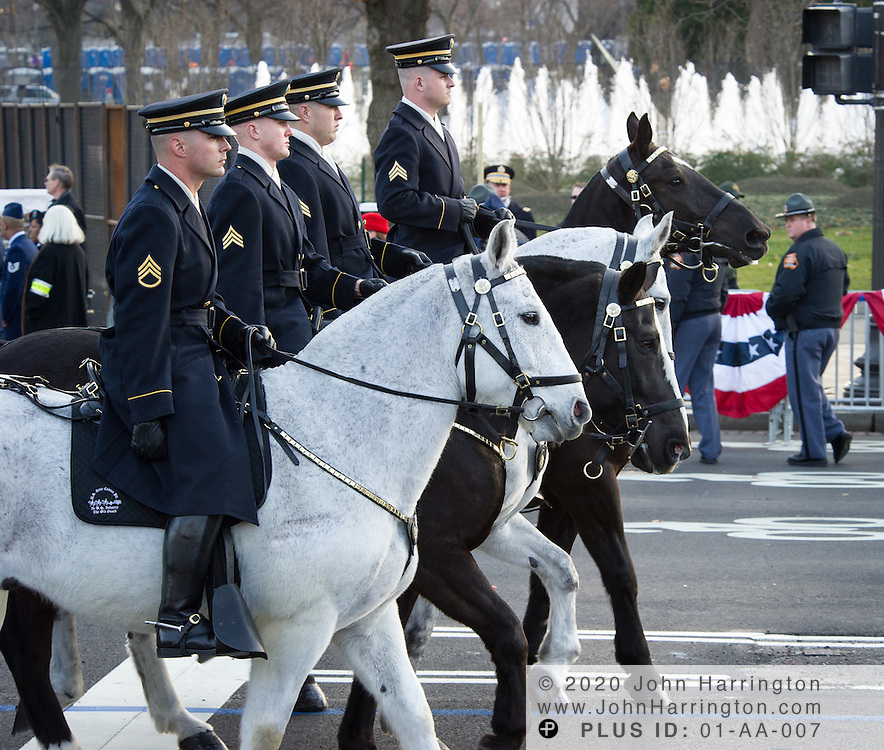 US Infantry Old Guard Mounted Division processing down the parade for the 57th Presidential Inauguration of President Barack Obama at the U.S. Capitol Building in Washington, DC January 21, 2013.