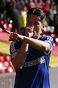 Brentford midfielder  Sergi Canós  celebrates after scoring during the Sky Bet Championship match between Nottingham Forest and Brentford at the City Ground, Nottingham, England on 2 April 2016. Photo by Chris Wynne.