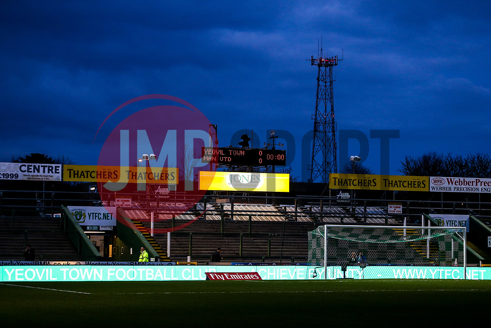 The scoreboard reads Yeovil Town 0 Manchester United 0 before fans arrive - Rogan/JMP - 26/01/2018 - FOOTBALL - Huish Park - Yeovil, England - Yeovil Town v Manchester United - FA Cup Fourth Round.