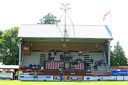 The main stand at Glebe Park, home of Brechin City Football Club..Brechin City 1 v 2 Falkirk, The Ramsden Cup..©Pic : Michael Schofield.