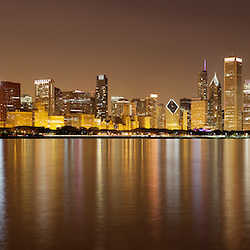 Picture of Chicago panorama skyline at night of downtown and Lake Michigan lakefront. Photos taken in late 2011.
