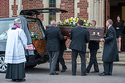 © Licensed to London News Pictures. 25/08/2015. London, UK. attends the funeral of Stephen Lewis, who played Inspector Cyril 'Blakey' in the sitcom TV series, On The Buses. He died on Wednesday the 12th of August 2015 aged 88. The funeral was held today, the 25th August 2015 at Our Lady Of Lourdes Church in Wanstead, east London. Photo credit: Pete Maclaine/LNP