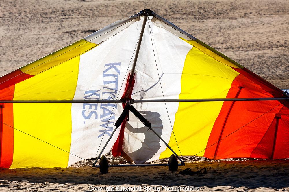 NC00781-00...NORTH CAROLINA - Hang glider at Jocky's ridge State Park on the Outer Banks.