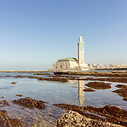 View on seafront of Grande Mosquée Hassan II in Casablanca, completed in 1993 is the largest mosque in Morocco and the 7th largest in the world.