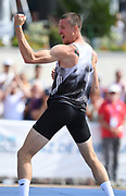 Zach Ziemek (USA) celebrates after clearing 6-11 3/4 (2.13m) in the high jump during the decathlon at the DecaStar meeting, Friday, June 22, 2019, in Talence, France. Ziemek placed second with 8,344 points. (Jiro Mochizuki/Image of Sport)