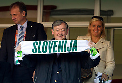 President of NZS Ivan Simic and President of Republic of Slovenia dr. Danilo Turk (R) during the 2010 FIFA World Cup South Africa Group C match between Slovenia and USA at Ellis Park Stadium on June 18, 2010 in Johannesberg, South Africa. (Photo by Vid Ponikvar / Sportida)