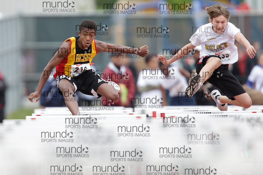 Donte Goulbourne of Brampton Centennial - Brampton competes at the 2013 OFSAA Track and Field Championship in Oshawa Ontario, Friday,  June 7, 2013.<br /> Mundo Sport Images/ Geoff Robins