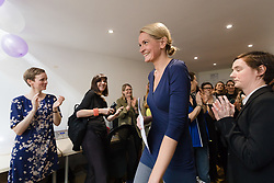 © Licensed to London News Pictures. 12/05/2017. LONDON, UK.  Supporters cheer after SOPHIE WALKER, the leader of the Women's Equality Party spoke at the launch of the party's general election manifesto at party headquarters in London.  Photo credit: Vickie Flores/LNP