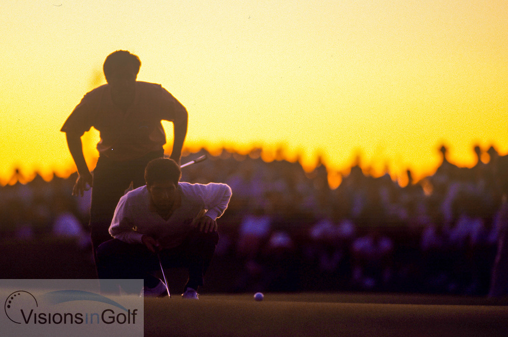 Seve Ballesteros and Jose Maria OLAZABAL<br /> <br /> The Ryder Cup 1991<br /> <br /> KIAWAH ISLAND, SOUTH CAROLINA<br /> USA  <br /> 1991<br /> <br /> Golf Pictures Credit:  Mark Newcombe / www.visionsingolf.com