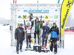 26.01.2019, Bad Mitterndorf, AUT, 40. Internationaler Steiralauf, 50 km Freie Technik, im Bild die Top 3, v. l. Klaus Neuper, Bürgermeister von Bad Mitterndorf, Kevin Plessnitzer (AUT), 2. Platz, Alexander Gotthalmseder (AUT), 1. Platz, Niklas Torgny Liederer (AUT), 3. Platz, Helmut Fuchs, OK-Chef Steiralauf // during the 40th international Steiralauf 50 km Freestyle in Bad Mitterndorf, Austria on 2019/01/26. EXPA Pictures © 2019, PhotoCredit: EXPA/ Martin Huber