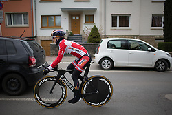 Amalie Dideriksen (DEN) of Boels-Dolmans Cycling Team warms up for the 2.8km time trial prologue of Elsy Jacobs - a stage race in Luxembourg in Luxembourg on April 29, 2016 in Luxembourg.