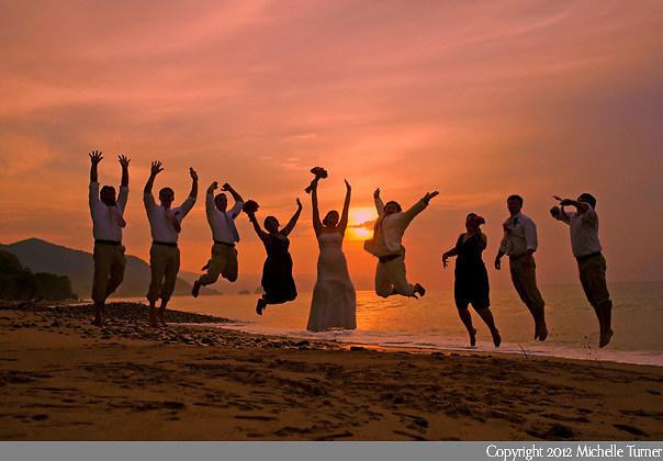Wedding party at sunset at a Puerto Vallarta Wedding.  Images by Puerto Vallarta wedding photographer Michelle Turner.
