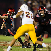 15 September 2018: San Diego State Aztecs place kicker John Baron II (29) hits a 54 yard field goal in the third quarter giving the Aztecs a 17-14 lead. The Aztecs beat the Sun Devils 28-21 at SDCCU Stadium in San Diego, California.
