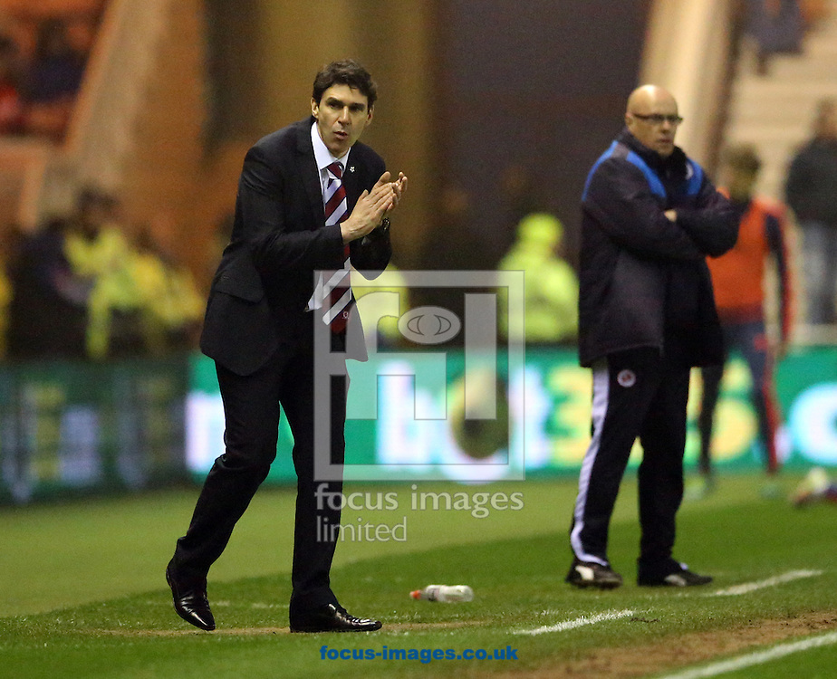 Middlesbrough head coach Aitor Karanka (l) and Reading manager Brian McDermott during the Sky Bet Championship match at the Riverside Stadium, Middlesbrough<br /> Picture by Simon Moore/Focus Images Ltd 07807 671782<br /> 12/04/2016
