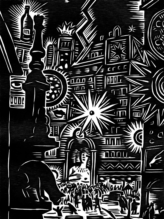A black / white drawing of a fiesta