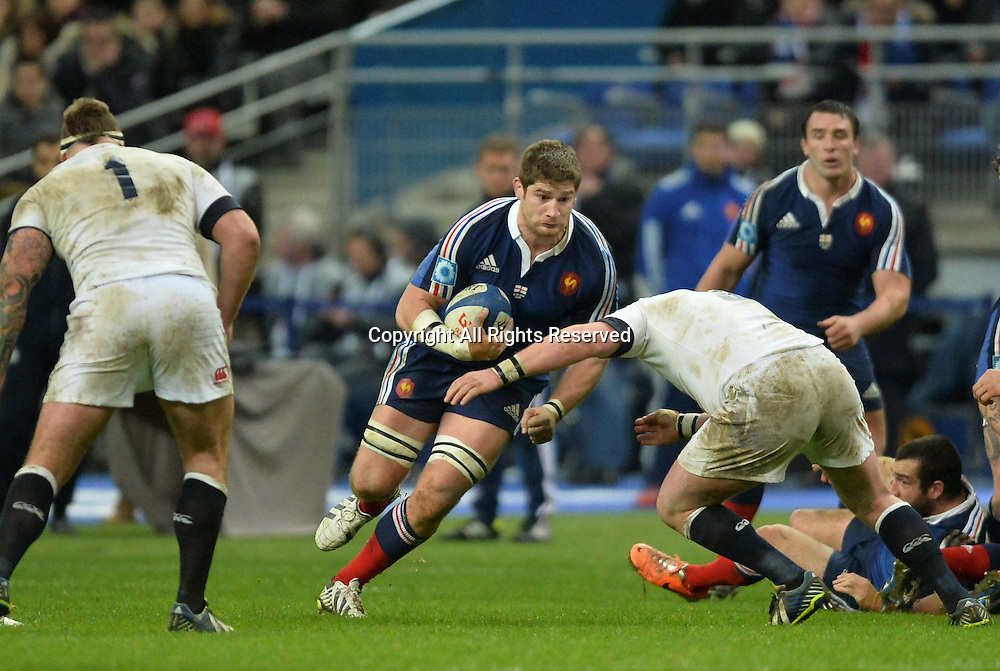 01.02.2014. Stade de France, Paris, France. 6 Nations International Rugby Union. France versus England.  Pascal Pape (fra)breaks a tackle and runs into England Marler