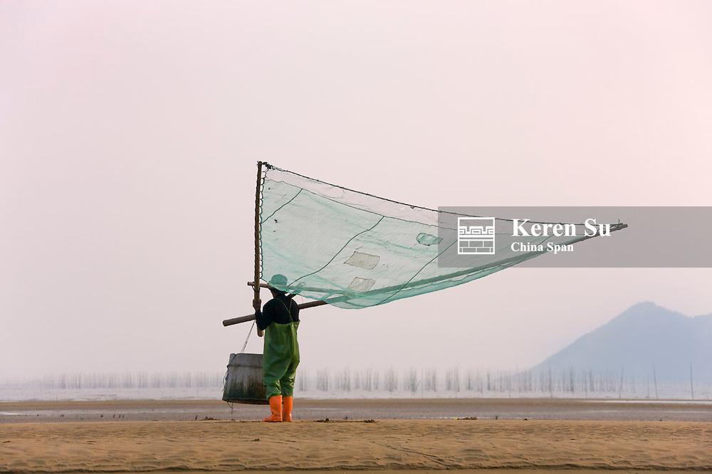 Fisherman carrying fish net on the beach, bamboo sticks for drying seaweed in the distance, East China Sea coast, Xiapu, Fujian, China