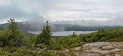 View of Eagle Lake from Cadillac Mountain on an overcast day, Mount Desert Island, Acadia National Park, Maine, USA.