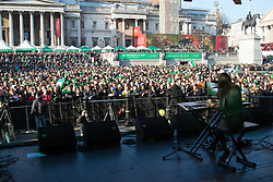 London, March 13th 2016. The annual St Patrick's Day Festival takes place in Trafalgar Square with performances on stage and plenty of Irish food and drink for the thousands of revellers. ©Paul Davey<br /> FOR LICENCING CONTACT: Paul Davey +44 (0) 7966 016 296 paul@pauldaveycreative.co.uk