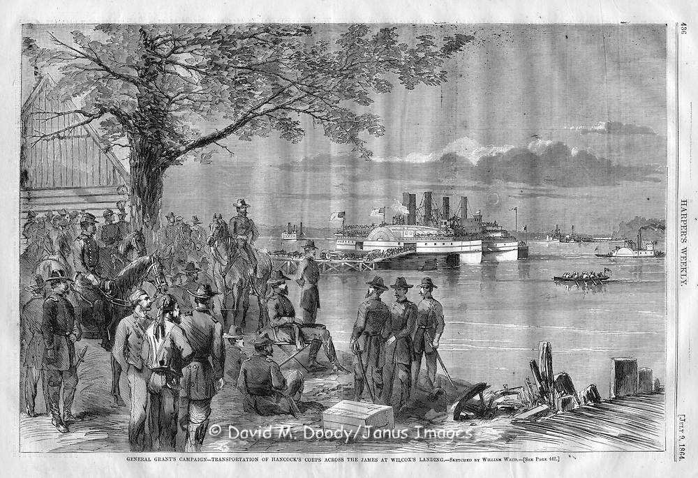 Grant's Army crossing the James River at Wilcox's Landing, Virginia. Harper's Weekly 1864