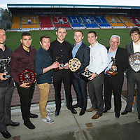 St Johnstone Player of the Year Awards...04.05.13<br /> Pictured from left, Alan Mannus who won Jailers Tours Player of the Year, We Are Perth Online Forum Player of the Year, Barossa Street Player of the Year and StJFC Supporters Bus Muirton Sweeties Cult Hero Award, Mehdi Abeid who won the We Are Perth Forum Young Player of the Year Award, Paddy Cregg who won the We Are Perth Forum Goal of the Season, Dave Mackay who won the StJFC Supporters Bus Player of the Year, Liam Caddis who won the Barossa Street Young Player of the Year Award, David Robertson who won the Highland Saints Magic Moment Award, Tommy Campbell who won the StJFC Supporters Bus George Gordon Clubman of the Year Award and Murray Davidson who won Auchterarder Player of the Year, StJFC Business Club Player of the Year and Auchterarder Top Goalscorer<br /> Picture by Graeme Hart.<br /> Copyright Perthshire Picture Agency<br /> Tel: 01738 623350  Mobile: 07990 594431