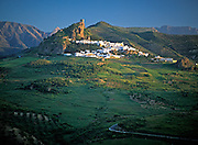 SPAIN, ANDALUSIA ZAHARA; a picturesque 'pueblo blanco' or white village, near Ronda with castle on mountain above town