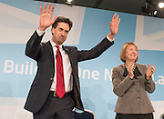 © Licensed to London News Pictures.01/03/2014. LONDON, UK (L-R) Ed Miliband, leader of the Labour Party, Harriet Harmen, Deputy leader of the Labour Party after Ed Miliband finishes his Leaders Speech. The Labour Party Special conference today at Excel London on 1st March 2014.  Photo credit : Stephen Simpson/LNP