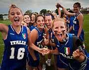 Italy's Emma Soccodato (L) and Francesca Capriotti celebrate winning their Haudenosaunee's during their 11 / 12  classification game at the 2017 FIL Rathbones Women's Lacrosse World Cup, at Surrey Sports Park, Guildford, Surrey, UK, 21st July 2017.