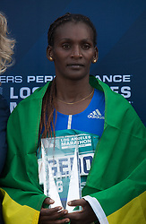 March 18, 2018 - Santa Monica, California, U.S - Sule Gedo #56 of Ethiopia with a time of 2:33:50 winner of the Skechers Performance Los Angeles Marathon poses with here trophy on Sunday March 18, 2018 in Santa Monica, California. (Credit Image: © Prensa Internacional via ZUMA Wire)