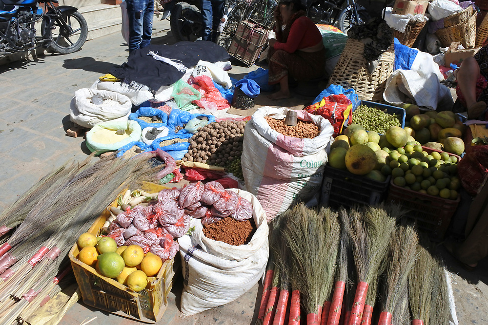 General items and fruit for sale in the market of kathmandu, Nepal