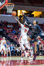 NORMAL, IL - February 27: Tete Maggett defended by Jasmine Franklin during a college women's basketball game between the ISU Redbirds and the Bears of Missouri State February 27 2020 at Redbird Arena in Normal, IL. (Photo by Alan Look)