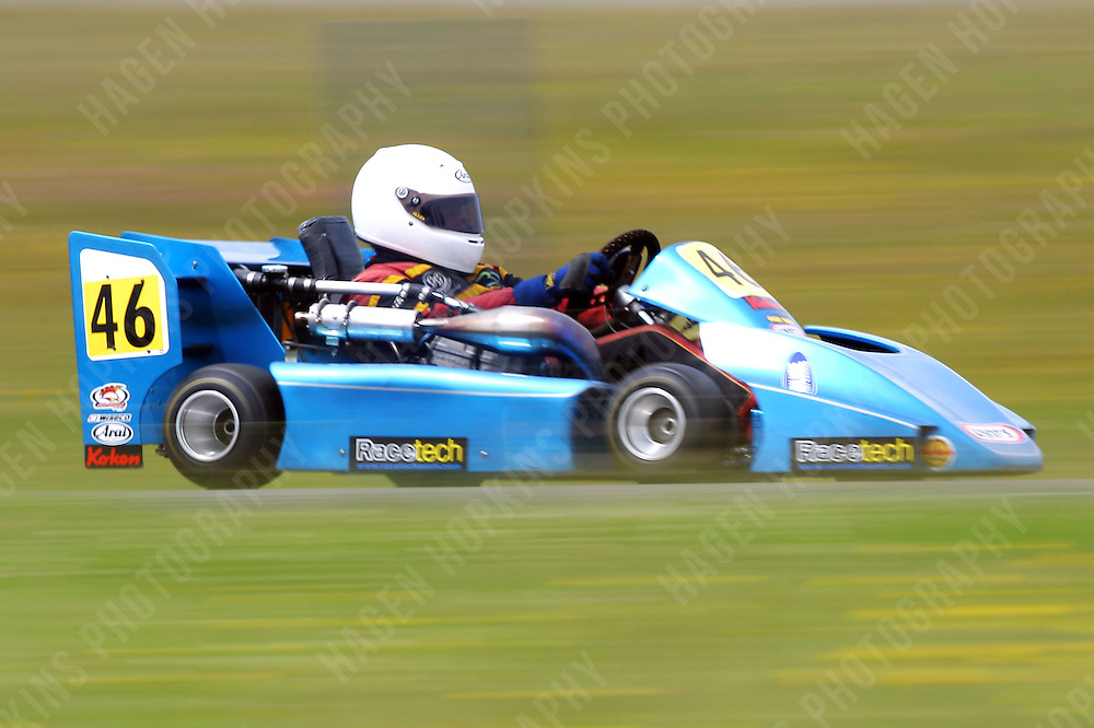 Tony Gestro, 46, races in the International Superkarts class during the 2012 Superkart National Champs and Grand Prix at Manfeild in Feilding, New Zealand on Saturday, 7 January 2011. Credit: Hagen Hopkins.