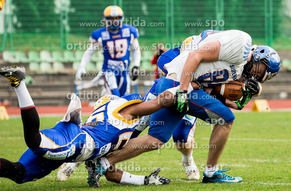 Blake ONeil of Graz Giants vs Matic Tomše of Silverhawks  during American football match between Ljubljana Silverhawks (SLO) and Project Spielberg Graz Giants (AUT) in Round #1 of AFL (Austrian Football League) League, on March 26, 2016 in Sportni park Ljubljana, Slovenia. Photo by Vid Ponikvar / Sportida