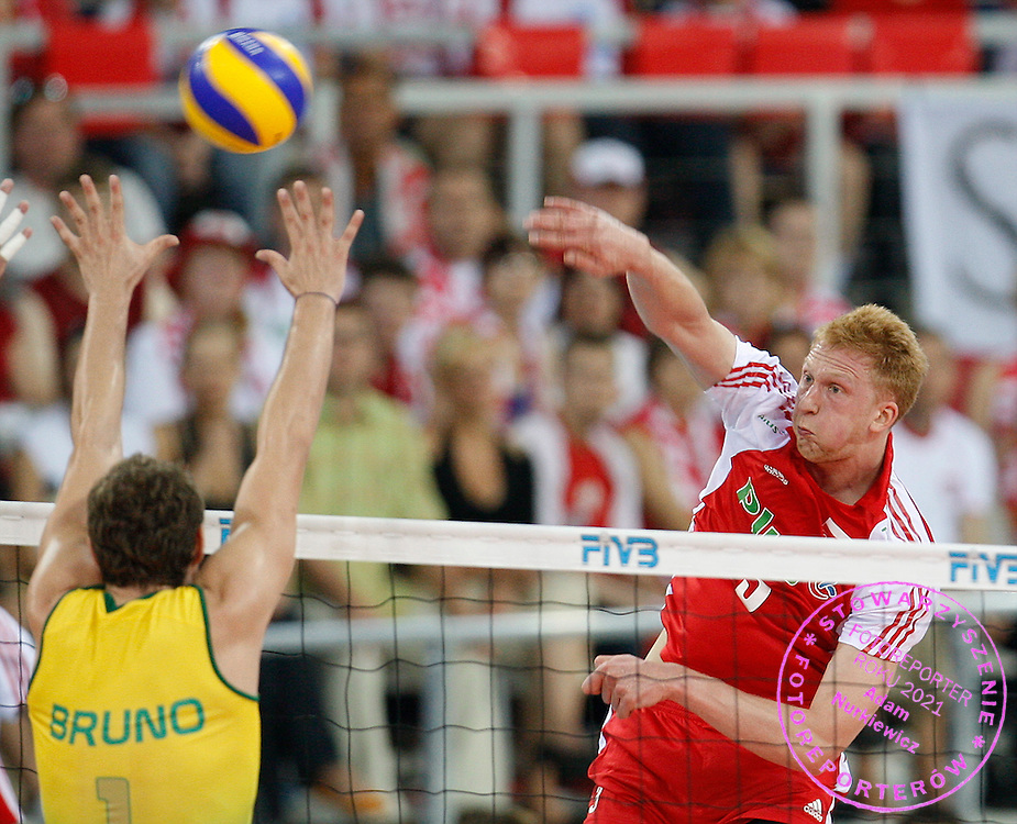 LODZ 28/06/2008.VOLLEYBALL WORLD LEAGUE 2009.POLAND v BRAZIL.JAKUB JAROSZ /POL/.FOT. PIOTR HAWALEJ / WROFOTO.