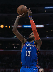 March 8, 2019 - Los Angeles, California, United States of America - Paul George #13 of the Oklahoma Thunder  takes a jump shot during their NBA game with the Los Angeles Clippers on Friday March 8, 2019 at the Staples Center in Los Angeles, California. Clippers defeat Thunder, 118-110.  JAVIER ROJAS/PI (Credit Image: © Prensa Internacional via ZUMA Wire)
