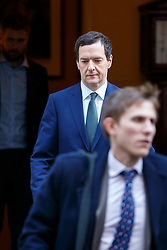 © Licensed to London News Pictures. 27/01/2015. LONDON, UK. Chancellor of the Exchequer George Osborne attending to a cabinet meeting in Downing Street on Tuesday, 27 January 2015. Photo credit: Tolga Akmen/LNP
